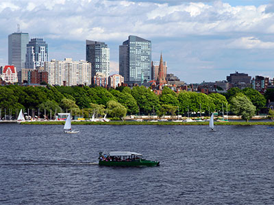 Boston Duck Tour and sailboats