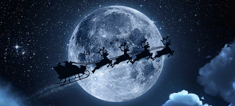 Santa Claus flying on the sky