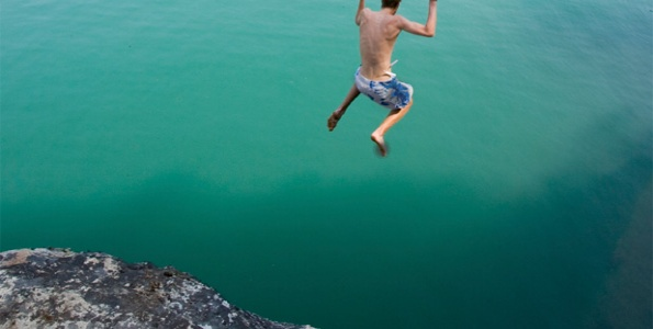 Student cliffdiving